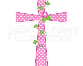 Pink Polka Dot Rose Cross Cute Digital Clipart, Girl Cross Clip art, Religious Graphics, Pink Cross Illustration, #1586