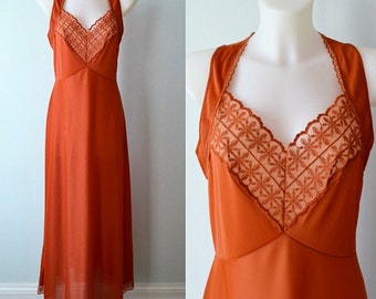 Vintage Nightgown, Burnt Orange Nightgown, Silfra, 1970s Nightgown, Long Nightgown, Vintage Lingerie, Nightgown
