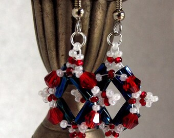 Beaded Red, White and Blue, Independence day, 4th of July, Sparkling Red, White and Blue Earrings