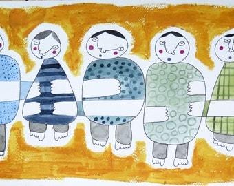 Original watercolor painting, happy people original illustration