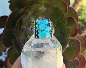 Kingman Turquoise Ring/ Turquoise Ring/ Square Turquoise Ring/ Native American Jewelry/ Sterling Silver Ring/ Mens Ring/ Womans Ring/Boho