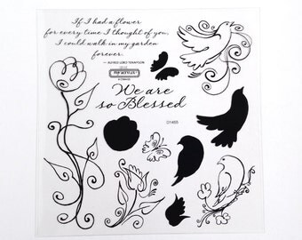 CTMH D1455 Blessed Close To My Heart bird flower sayings butterfly Two Step Stamping Clear Stamp Retired Discontinued Unmounted Stamps USED