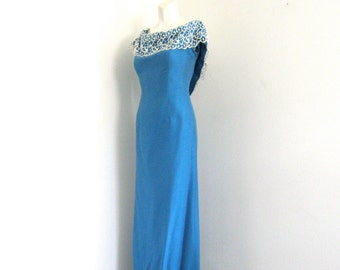 Royal Blue Silk Off Shoulder Long Prom Bridesmaid Wedding Dress Vintage 50's Bianchi Boston NY Cornflower Blue Maxi