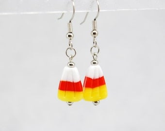 Candy Corn Earrings in Silver - Halloween Jewelry, October Jewelry, One of a Kind