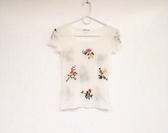 Vintage 1990s Vivienne Tam Designer Sheer Micro Mesh Embroidered Flower Top