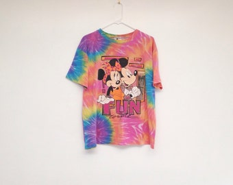 Vintage 1990s Mickey and Minnie Ultra Soft Tie Dyed T-Shirt