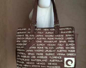 WEEKEND SALE! 1970's canvas tote /shoulder bag /purse / famous places New York Japan Zurich Italy France...