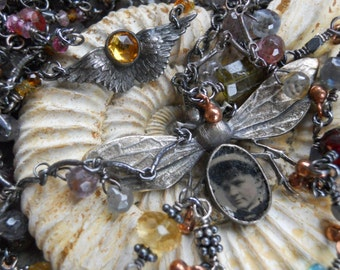 Wings                  Victorian Tintype Bug Gemstone Chain Assemblage Necklace