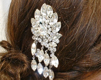 OOAK Rhinestone Hair Comb Old Hollywood Glam Bridal, Designer JULIANA Clear Crystal Silver Fairytale Wedding Headpiece Vintage Hairpiece
