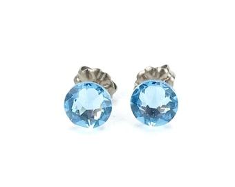 Titanium Stud Earrings Blue Aquamarine Swarovski Crystal Studs, Titanium Posts for Sensitive Ears, Titanium Earrings