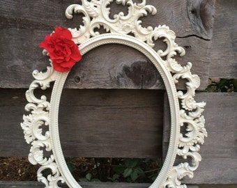 SALE Vintage White Mirror Frame Burwood Oval Shabby French Country Wedding