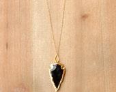 Obsidian + Gold Arrowhead Necklace
