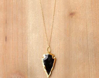 Obsidian + Gold Arrowhead Necklace