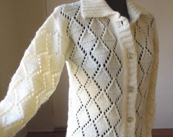END of SUMMER SALE So Darling...Vintage 70's Cardigan Sweater, Off-White or Cream, Lacy, Open Weave, Size Small to Medium