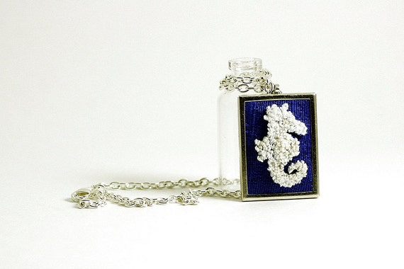 Ready to Ship! Seahorse Silhouette Nautical Jewelry on Cobalt Blue Silk. Silver Necklace, Rectangular. Punch Needle Embroidery.