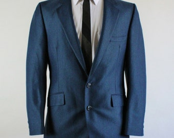 SALE - Vintage 60s Blue Sharkskin Sport Coat Jacket - Mid Century Modern - Mens Size Small