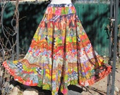 Vintage 80s-Gypsy boho tiered flower skirt