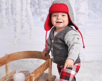 Baby Leggings - Baby Boy Leggings - Baby Girl Leggings - Red Black White Plaid