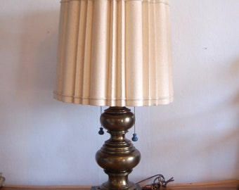 """Massive Antique Brass """"Stacked Bubbles"""" Table Lamp on a Square Weighted Base w/ a Double Arm Light Cluster & Sculptured Linen Lamp Shade"""