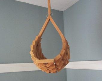 Mid Century Hanging Geometric Wood Block Hanger