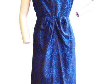 1950s Indigo Blue and Black Abstract Rose Print Dress