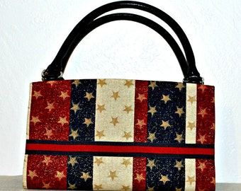 Red White Blue Stars and Stripes 4th of July  Magnetic Bag Shell Cover