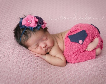 Smooth Sailing navy and pink rosette and chiffon flower headband