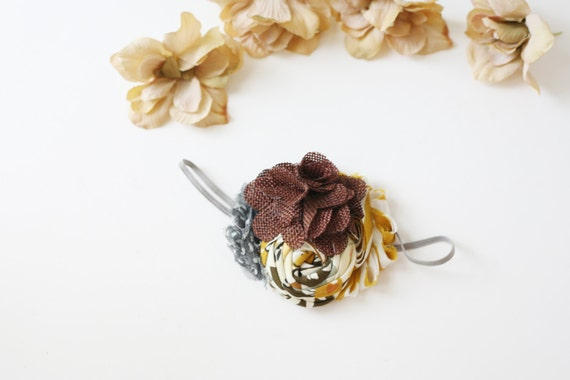Falling into You- fall inspired chiffon and rosette headband with burlap bloom bow