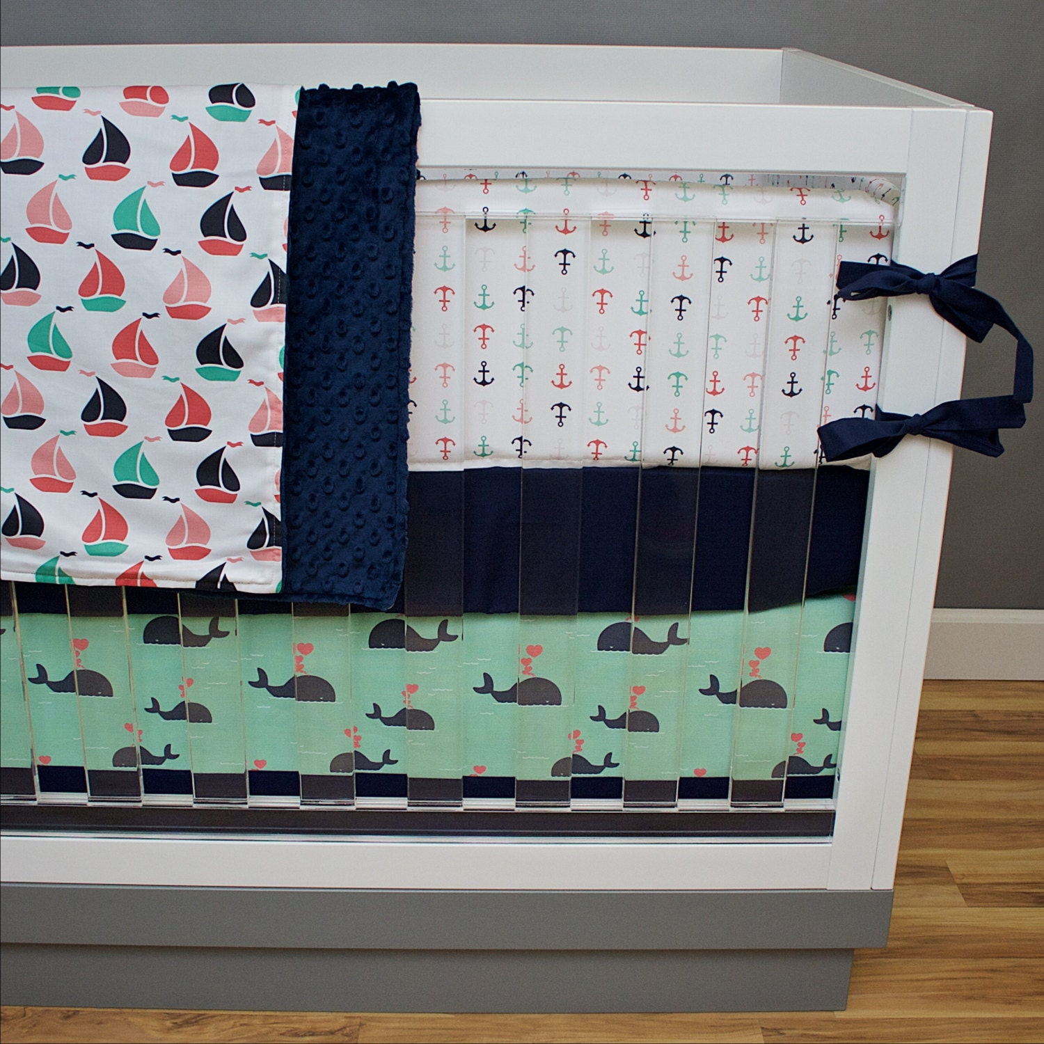 Nautical Infant Bedding: Nautical Crib Bedding Baby Girl Nursery Coral Navy Mint