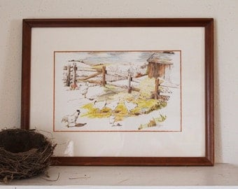 Original Watercolor Chickens Painting- Ink & Watercolor - Wood Frame and Glass - BEAUTIFUL Signed by Alice Loeffler