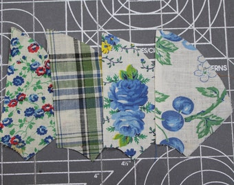 Vintage 1930 FABRIC - Blue & Green Percale and Feedsack -Novelty Calico Floral- Gingham- Quilting Pieces - Fan/Pinwheel - 35 Pieces