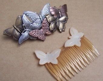 Vintage hair accessories butterfly theme hair barrette hair comb decorative comb hair slide hair clip hair jewelry