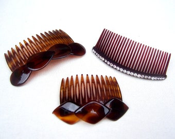Mid century hair combs 3 celluloid faux tortoiseshell mid century hair accessories hair jewelry decorative comb