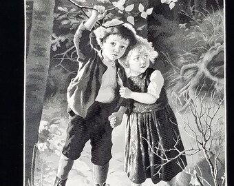 Hansel and Gretel Vintage Fine Tapestry in Black and White