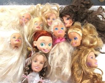 Barbie Doll Heads Ten (10) VINTAGE Doll Heads BARBIE Doll Heads Clones Art Jewelry Assemblage Doll Heads Doll Making Supplies (G158)