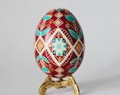 Pysanka,Ukrainian Easter egg, batik decorated chicken egg by artist Katya Trischuk,real egg shell handcrafted,Easter tree decorations,eggs
