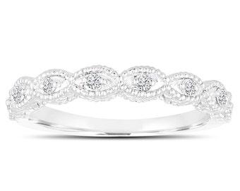 Platinum Wedding & Anniversary Diamonds Band 0.11 Carat handmade Vintage Style