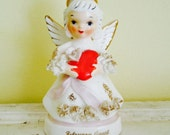 Vintage February Angel Figurine by Napco, Cute Angel with Red Heart, Valentine's Gift