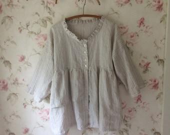 Natural Stripe Linen Jacket Lightweight Prairie Baby Doll Jacket Washable Linen Pleated Ruffle Neck Lagenlook 44 Bust