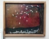 PAPER TREE - acrylic mix media painting, framed