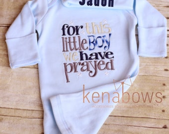 Newborn Baby Gown: Light Blue Infant Boy Gown, For This Little Boy We Have Prayed, New Baby Shower Gift, Personalize Hat,  READY to Ship 0-3