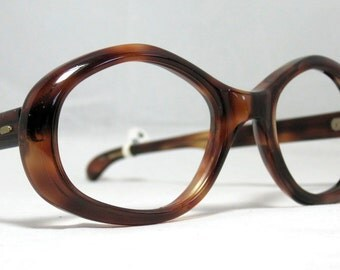 Vintage 60s Tortoise Angular Geometric Eyeglasses Sunglasses Frames
