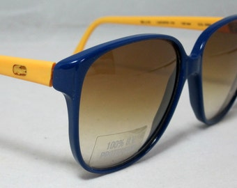 Vintage 80s Large Blue and Yellow Sunglasses by Lacoste. NOS