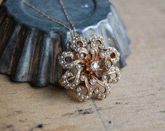 Victorian 14K sunburst pendant with diamonds and pearls