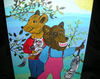 Funky,Whimsical Childlike Painting Two Animals Bears/Ursus, Nurturing Cats Outsider Primitive Childs Art.