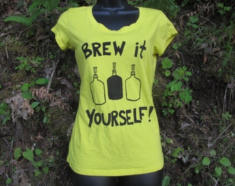 Brew It Yourself - Yellow Fitted Tee - shirt, homebrew print tshirt, unisex, women, gift, beer shirt, diy, carboy, hops barley, feminist