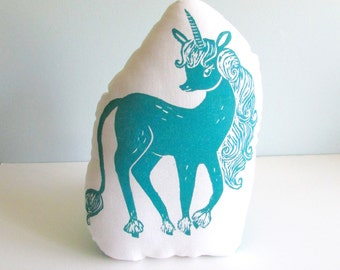 Plush Unicorn Pillow. Hand Woodblock Printed. Choose ANY colors. The Last Unicorn.