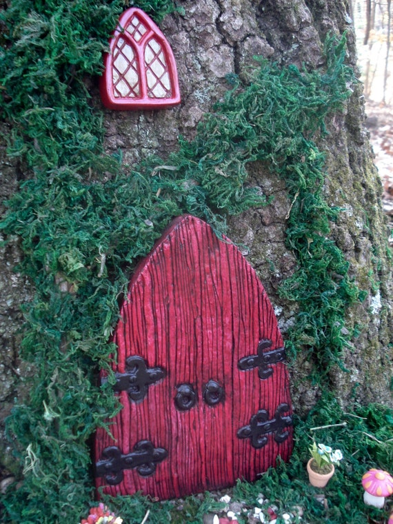 Large fairy door set large red medieval by fairybehindthedoor for Large gnome doors