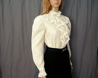 Vintage 1980s Lace Blouse Cream Linen Lacy Long Sleeve Shirt / Small