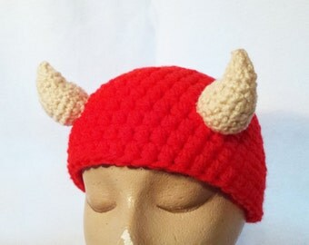 Horned Hat Red Devil Demon Hat In Stock and Ready to Ship Novelty Cosplay Hat Character Hat Villian Hat Handmade Crochet